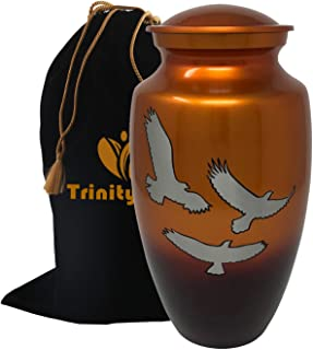 Loving Wings of Hope Cremation Urn - Wings of Freedom Urn - 100% Handcrafted Adult Funeral Urn - Large Wings of Love Solid Metal Urn - Affordable Urn for Human Ashes with Free Velvet Bag (Sunset Gold)