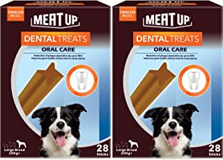 Meat Up Dental Treats, Oral Care Dog Treats for Large Breed Dogs - 28 Sticks, 1.08Kg (Buy 1 Get 1 Free)