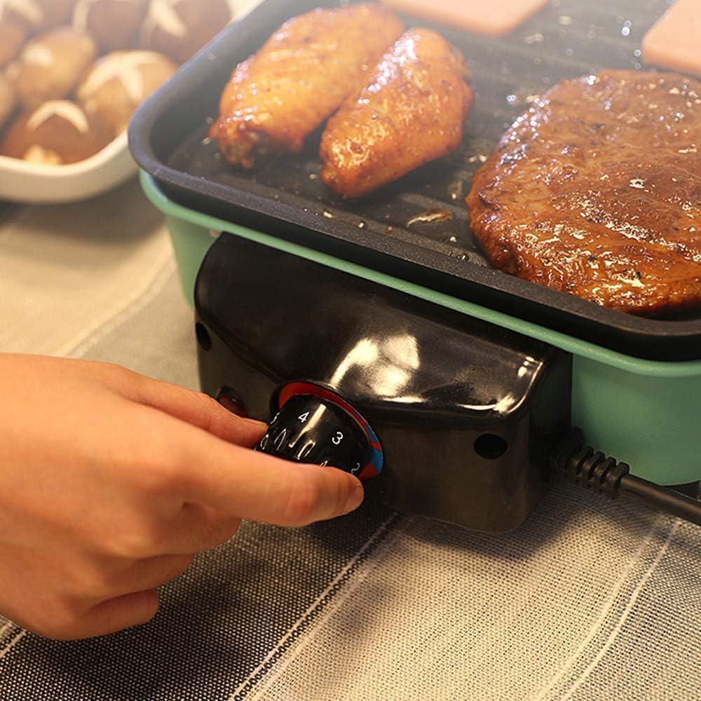 AYHa Portable électrique Barbecue Grill Smokeless Barbecue Grill Machine de table d'intérieur, l'eau goutte à goutte Rempli Plateau, facile à nettoyer, Vert,6 7