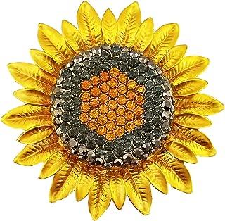Lanxy Gold Tone Grey Orange Yellow Austrian Crystal Sunflower Brooch Pin for Women