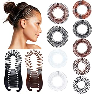 11 Pieces Full Circular Stretch Comb Flexible Hair Combs Headband Tooth Interlocking Banana Combs Plastic Hair Wrap Hairba...