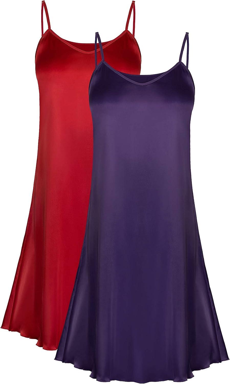 Genuwin 2 Pack Women's Satin Full Slip Dress Chemise Sleepshirt Nightgowns for Women S2XL