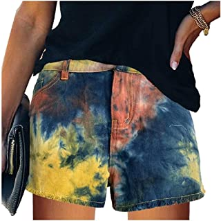 Zimaes Womens Denim Relaxed Lounge Plus-size Sport Pants Jeans Shorts Pants