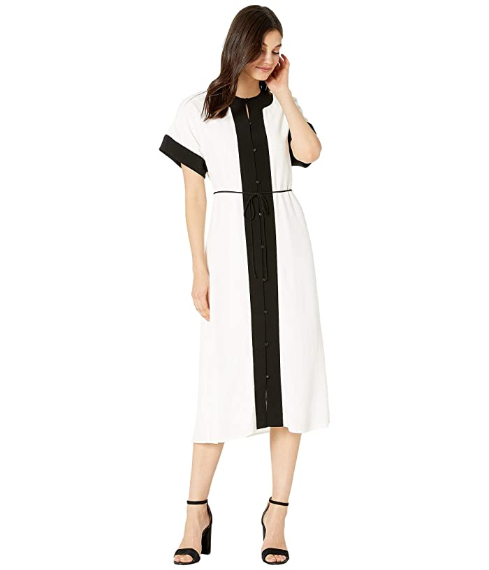 1920s Day Dresses, Tea Dresses, Mature Dresses with Sleeves EQUIPMENT Claudine Dress Nature White Womens Clothing $207.19 AT vintagedancer.com