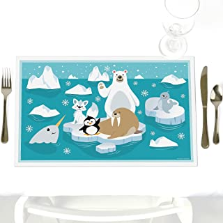 Big Dot of Happiness Arctic Polar Animals - Party Table Decorations - Winter Baby Shower or Birthday Party Placemats - Set of 12