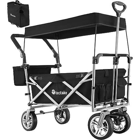 Tectake 800800 Chariot de Jardin à Main Pliable Remorque Transport 4 Roues Max 80 Kg Toit Amovible + Sac de Rangement – Diverses Couleurs (Noir)