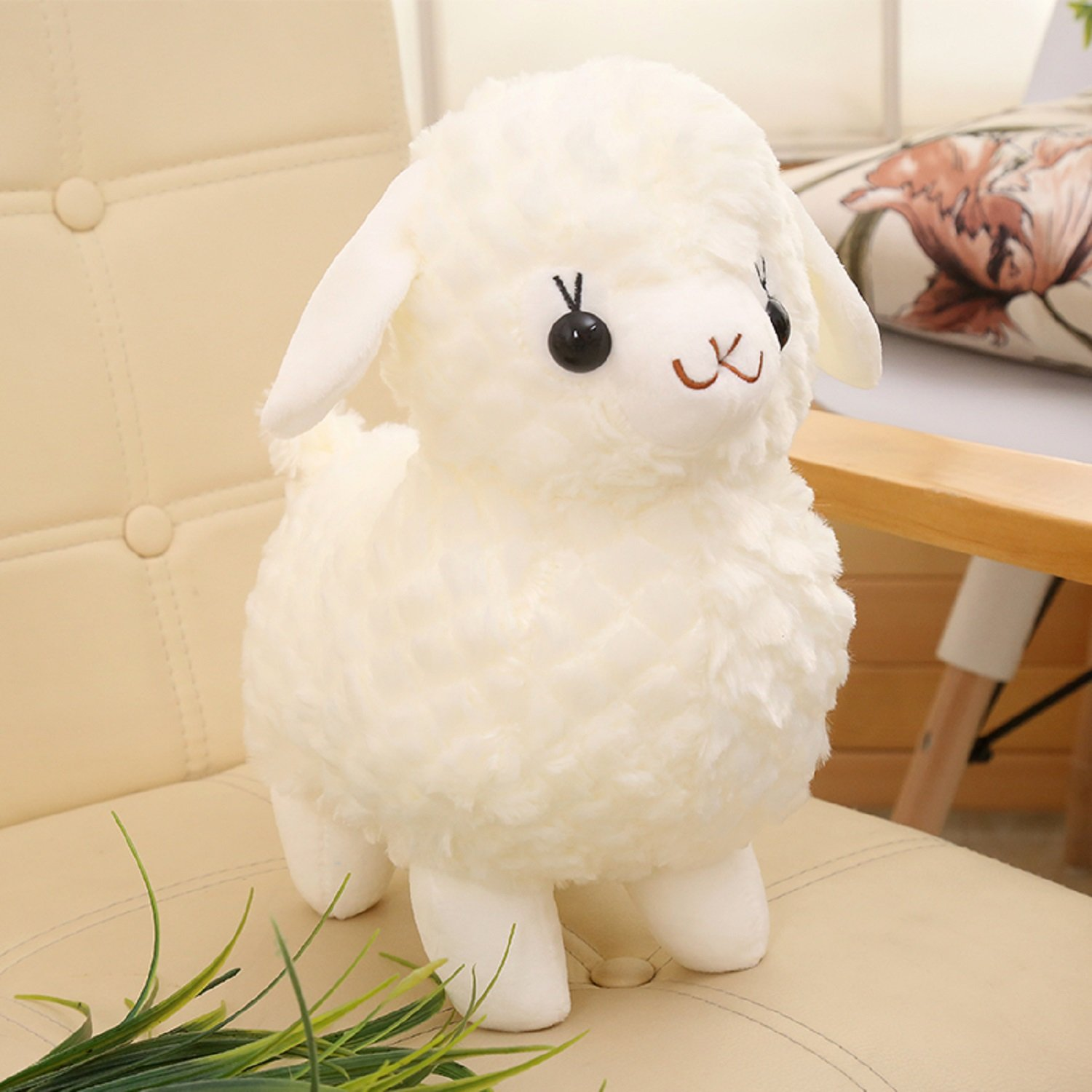 Plush Sheep Stuffed Animal Toys Cuddly Soft Dolls Gifts Home Office Decorations Snow White 12 Inches