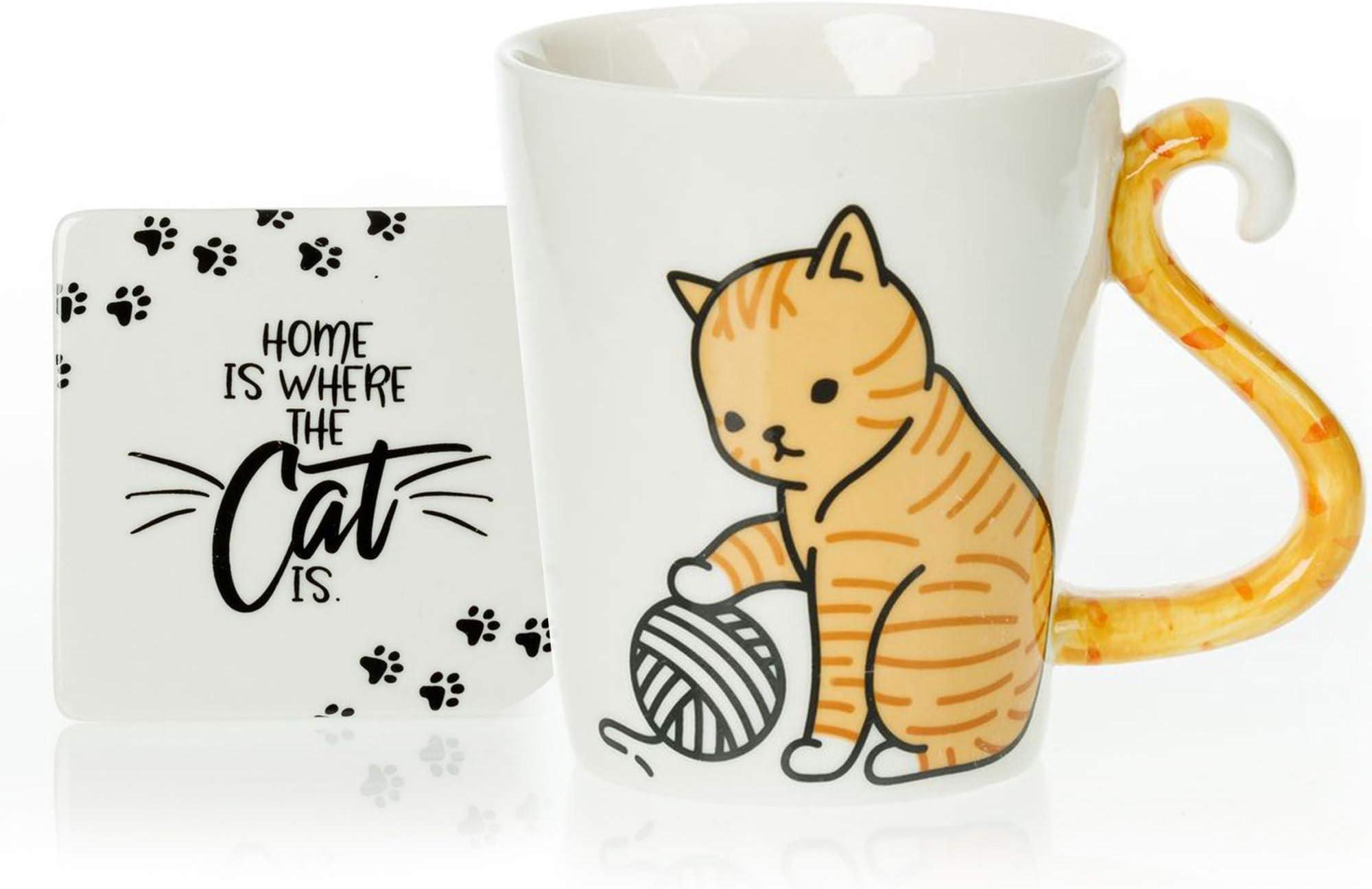 InFLOATables Orange Cat Mug and Coaster Set - Cute Mug with Ceramic Coaster - 3D Coffee Mug with Tail Cat Handle - Novelty Coffee Mugs - Tabby Cat Mug - Holds 12 Ounces of Drink