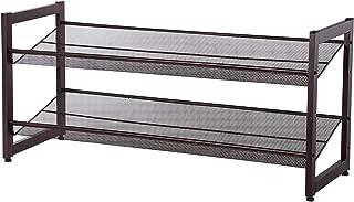 SONGMICS 2-Tier Stackable Metal Shoe Rack Flat & Slant Adjustable Shoe Organizer Shelf for Closet Bedroom & Entryway Bronze ULMR02A