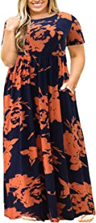 Women Short Sleeve Loose Plain Casual Plus Size Long Maxi Dress with Pockets