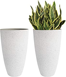 """Resin Large Tall Round Planters - 20"""" Big Flower Tree Pot with Drainage for Indoor and Outdoor, Set of 2, Speckled White"""