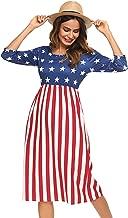 Halife Women's 3 4 Sleeve Stripe Elastic Waist Casual Dress with Pocket