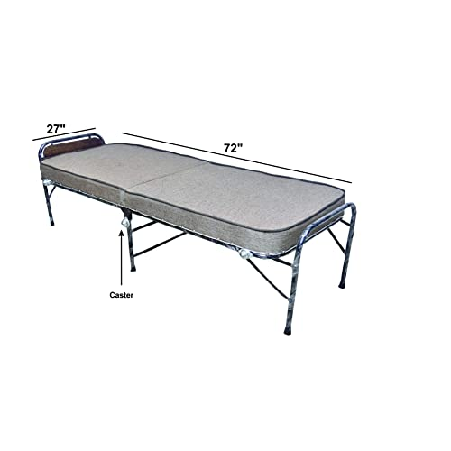 parkash steel Smart Folding Plastic Bed with 5 inch Mattress and Casters Wheels