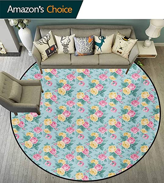 RUGSMAT Shabby Chic Modern Machine Round Bath Mat Colorful Roses Vegetation In The Summer With Leaves Bridal Non Slip No Shedding Kitchen Soft Floor Mat Diameter 71 Inch Pale Pink Yellow Turquoise