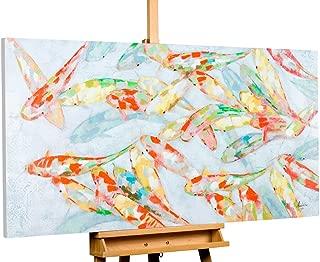 Kunstloft® Cuadro acrílico 'Nearly Transparent' 140x70cm | Original Pintura XXL Pintado a Mano en Lienzo | Koi Peces Colorido Negro | Mural acrílico de Arte Moderno en una Pieza con Marco