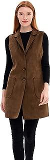Charis Allure Women's Sleeveless Open Front Suede Vest