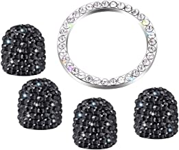 Zhidemai Valve Stem Caps 4 Pack Handmade Crystal Rhinestone Dust Caps Universal Tire Valve ,Bling Car Accessories with 1 Piece Ring Emblem Sticker for Ignition Engine Auto Start Button Key (Black)