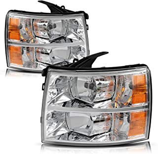 Headlight Assembly for 2007 2008 2009 2010 2011 2012 2013 2014 Chevy Silverado Replacement Headlamp Driving Light Chromed Housing Amber Reflector Clear Lens,2 Year Warranty (Pair)