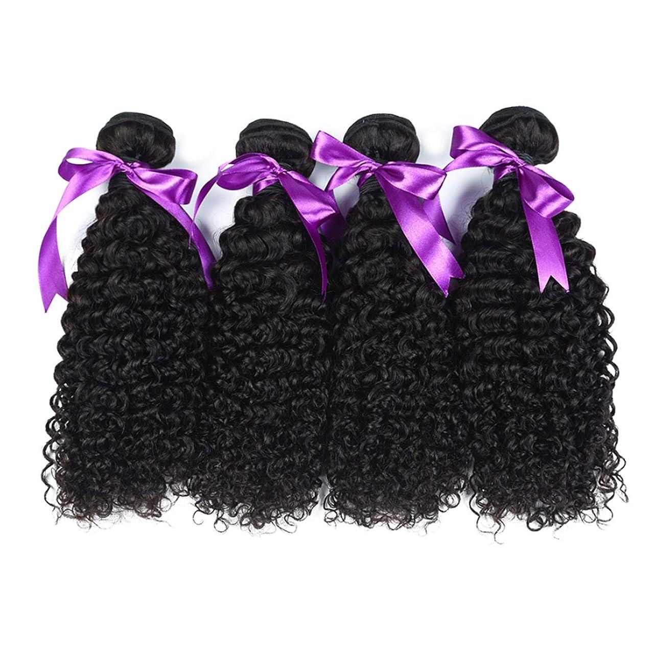 電気の帳面性格マレーシアの巻き毛の束8-28インチ100%の人間の毛髪は、Remyの毛のナチュラルカラー4個の巻き毛の束を織ります かつら (Stretched Length : 22 24 26 28)