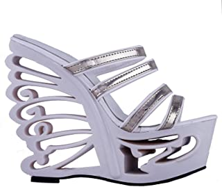 SHOW STORY Two Tone Strappy Wedding Wedge Butterfly Heel Mule Slide Sandals Shoes,LF51802