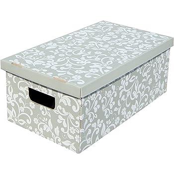 Kanguru LAVATELLI, Conjunto de 3 Cajas en Carton, Gris/Blanco, 29x51x21 cm, Flores, 29x51x20 cm: Amazon.es: Hogar