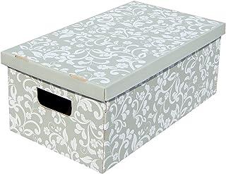 Kanguru LAVATELLI, Conjunto de 3 Cajas en Carton, Gris/Blanco, 29x51x21 cm, Flores, 29x51x20 cm