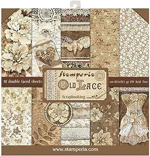 """Stamperia Bloc Papier Scrap double Face 10 feuilles 30,5x30,5 (12""""x12"""") - Old Lace multicolore SBBL32"""