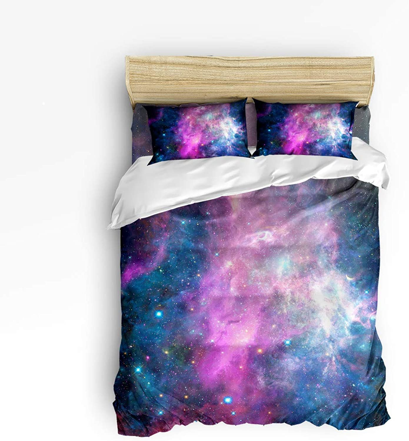 LEO BON Duvet Cover Set Full Size Galaxy Nebula Stars Space colorful Pattern Floral Duvet Cover and Pillow Shams Bed Set