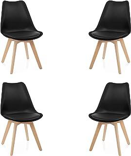 duehome (Beench Pack de 4 sillas Madera de Haya 49 x 53.5 x 83 cm Negra