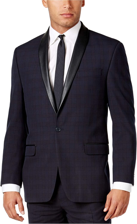 Sean John Mens Classic-Fit One Button Blazer Jacket, Blue, 42 Long