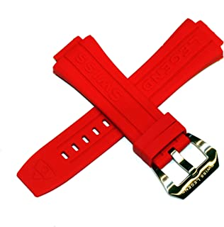Swiss Legend 28MM Red Silicone Watch Strap Silver Stainless Buckle fits 44mm Trimix Diver Watch