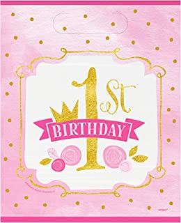 Unique Party Pink/Gold 1st Birthday Loot Bags (Pack of 8) (UK Size: One Size) (Pink/Gold)