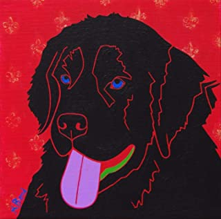 Newfie Dog Art - Newfoundland MATTED Print Colorful Dogs by Angela Bond