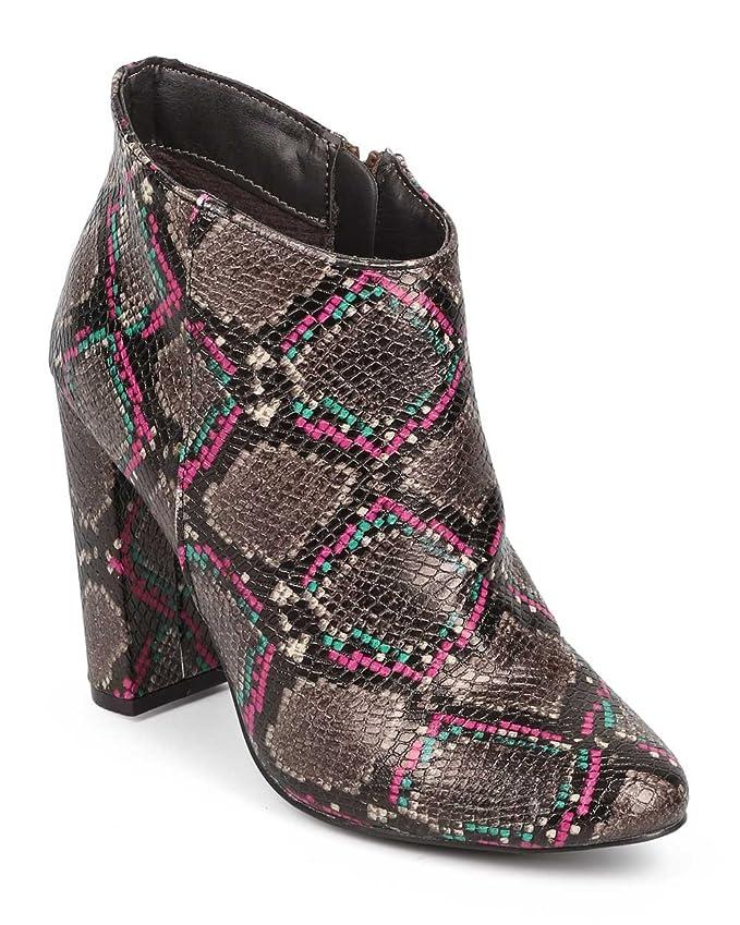 救出扱う適合しました[DEV] 蛇皮レディースBreckelleアーモンドトウブロックチャンキーヒールTailoredアンクルブーツ靴