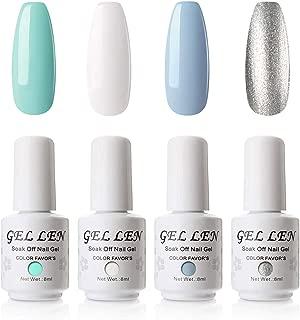 Gellen Gel Nail Polish Set 4 Colors Nail Art Manicure NAil Gel Set, Mint Color Sky
