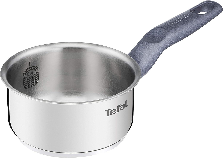 Tefal Daily Cook - Cazo de acero inoxidable de 12 cm, 0.6 Litro, base reforzada, aptas para todo tipo de cocinas incluido inducción, gran conductividad y resistencia con materiales reciclados