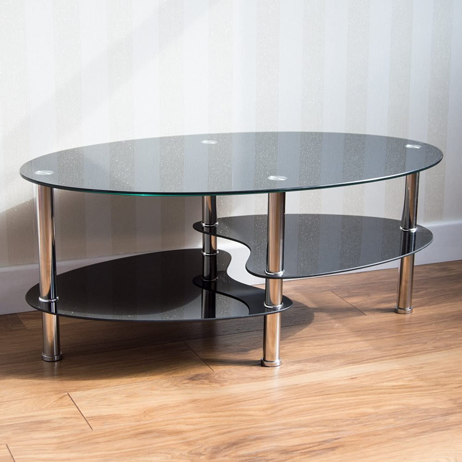 (Black) - Home Discount Cara Glass Coffee Table, Black Oval Stainless Steel Legs Modern