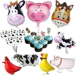 DLOnline Farm Animal Birthday Party Balloon Decoration Set Walking Animal Balloons Farm Cupcake Toppers Girls or Boys Barnyard Birthday Party Supplies