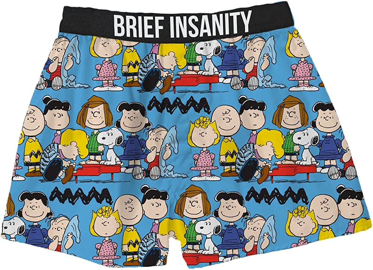Snoopy Friends are for Life Boxers for Men and Women | Peanuts Gang Print Boxer Shorts | Charlie Brown Underwear