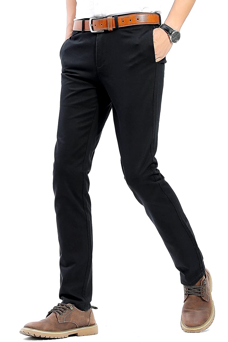 INFLATION Men's Stretchy Slim Fit Casual Pants,100% Cotton Flat Front Trousers Dress Pants for Men