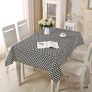 Pridesong Mantel de algodón poliéster Estilo Rural Simple hogar Rectangular se Puede Utilizar para mesas de Comedor m...