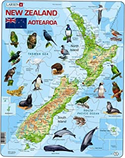 Larsen New-Zealand Physical with Animals Puzzle (71 Piece)