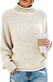 Womens Sweaters Jumper Ribbed Half High Neck Lightweight Long-Sleeves