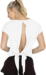 icyzone Open Back Workout Tops for Women - Athletic Activewear T-Shirts Exercise Yoga Shirts