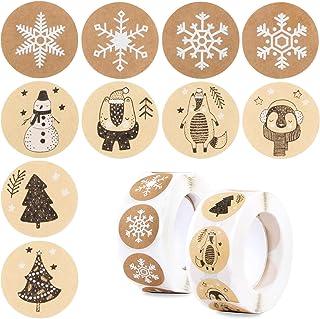 Kerststickers rollen voor ambachten, 1000 stuks 2,5 cm kerststickeretiketten op rol kerstvakantie stickers voor doe-het-ze...