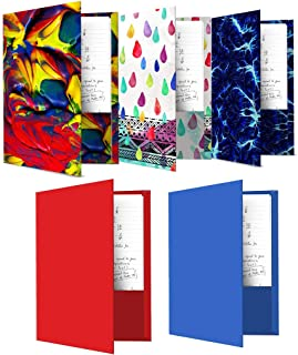 Book Sox Folders 5 Items Paint Wcraindrops Circuit Prints Red Blue Solids