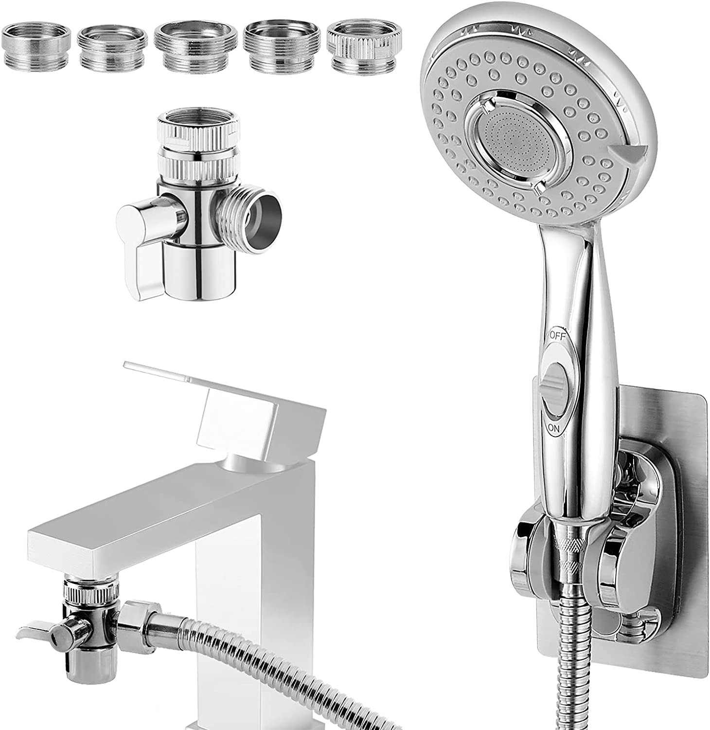 Shower Head for Bathtub Faucet - Wixann Sink Faucet Sprayer Attachment with 5 Adapters & ON/Off Extension, 4.9 FT Pipe for Hair Washing, Pet Dog Rinse, Baby Bath