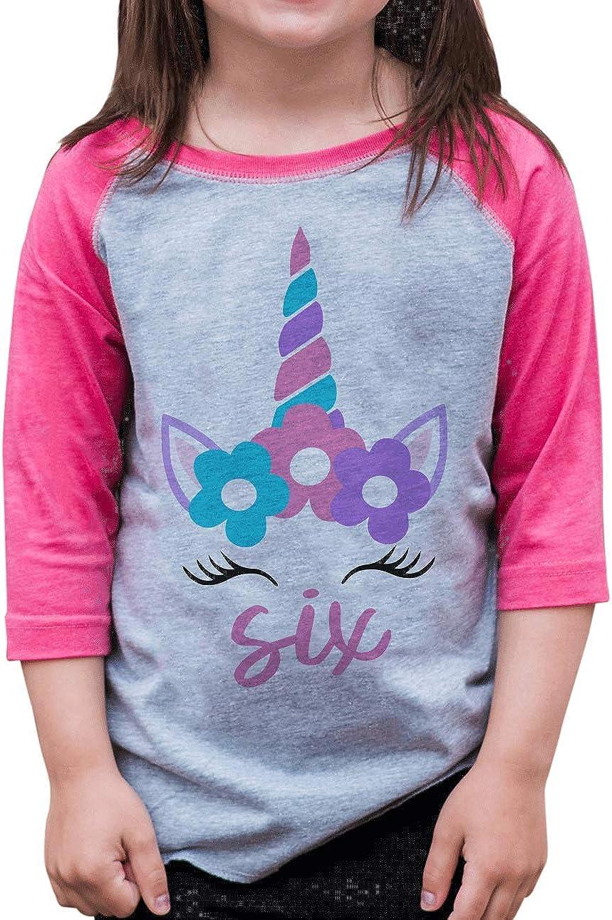 7 ate 9 Apparel Girls Six 6 Sixth 6th Birthday Unicorn Raglan Tee Pink