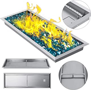 VEVOR 49x16 Inch Fire Pit Pan Stainless Steel Linear Trough Drop-in Fire Pit Pan Rectangular Table Top Fire Pit Fire Bowl,185k BTU, Double Burner