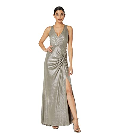 Adrianna Papell Metallic Jersey Dress (Mink) Women